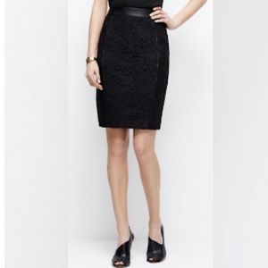 Ann Taylor lace pencil skirt with faux leather